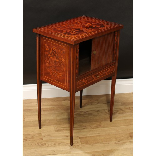 9 - A 19th century Dutch mahogany and marquetry tambour-front side cabinet, rectangular top, drawer to b...