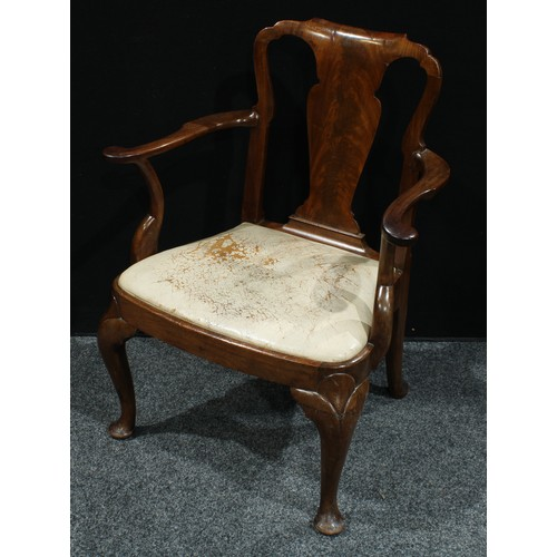 10 - A Queen Anne design mahogany open armchair, of broad proportions, 'cupids bow' cresting rail, vascul...