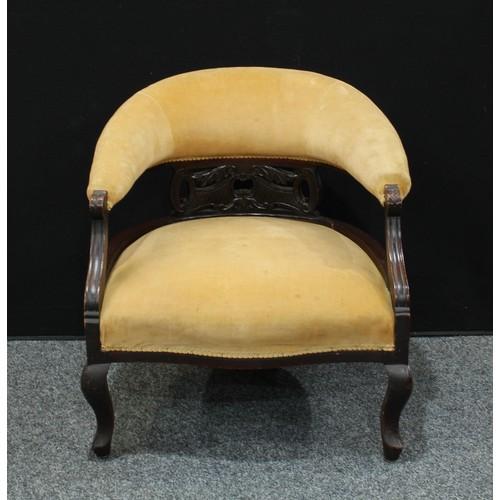 13 - A late Victorian/Edwardian Eastlake style open armchair; a similar club/tub armchair (2)