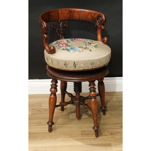 15 - A William IV mahogany cellist's stool, curved back rail carved with scrolling lotus and draught-turn...