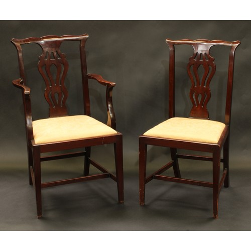 18 - A set of eight Chippendale Revival mahogany dining chairs, comprising six side chairs and a pair of ...