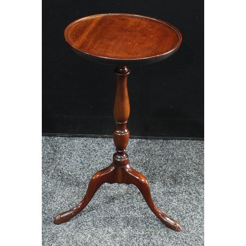 19 - A Victorian mahogany tripod wine table, circular top, turned pillar, cabriole legs, pad feet. 55cm h...