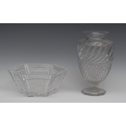 12 - A 19th century hobnail-cut clear glass ovoid mantel vase, possibly Baccarat, notched everted rim abo...