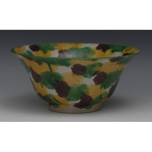 23 - A Chinese spinach and egg glazed flared circular bowl, decorated in mottled tones, 19.5cm diam, para...