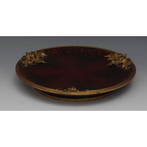 3 - A Sèvres gilt metal mounted flambé comport, by Paul Milet, glazed throughout in mottled sang de Boeu...