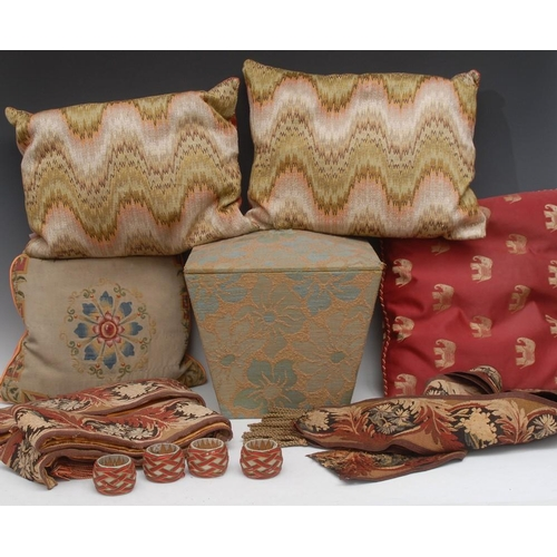 61 - Furnishings - 19th century and later cushions; curtain ties; etc (19)...