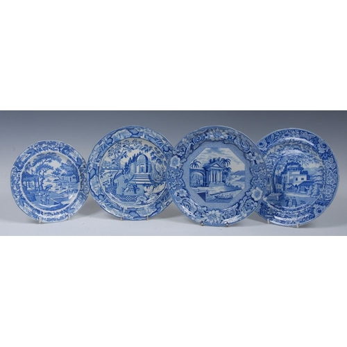 1 - An Andrew Stevenson Chinese Traders plate, printed in blue with figures and their wares crossing a b...