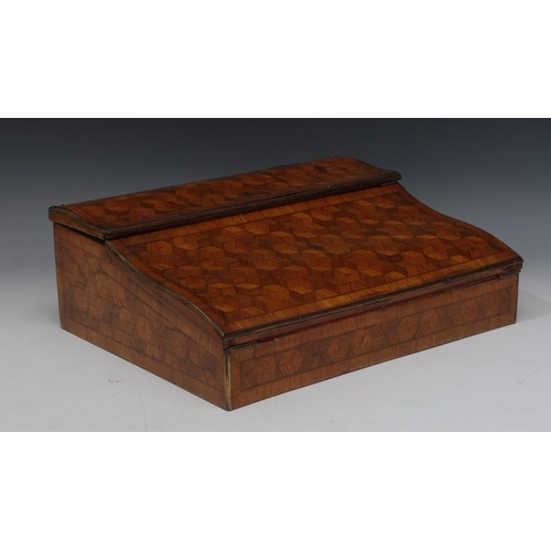72 - A French Transitional style kingwood parquetry lap desk, hinged serpentine cover and front enclosing...