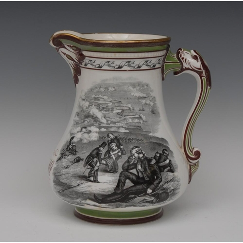 12 - A Samuel Alcock & Co The Royal Patriotic jug, printed in monochrome with wounded soldiers and grievi...