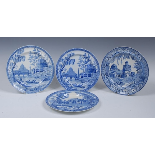 13 - A Spode Rome/Tiber pattern circular plate, printed in blue with bridge, column and domed building, 2...