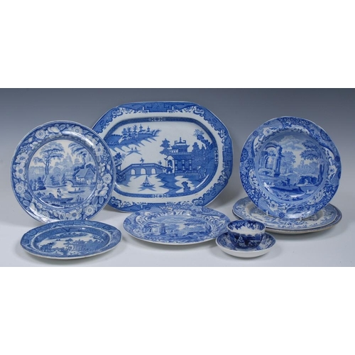 15A - A Wedgwood British Scenery plate, printed in underglaze blue with figures boating, 24.5cm diam, c.18...