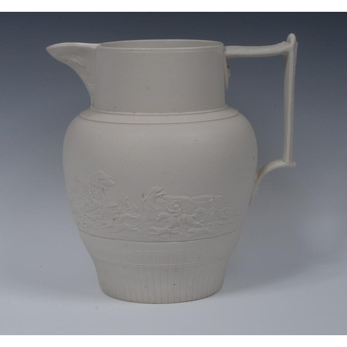 20 - A large 19th century ovoid stoneware ovoid jug, probably Turner, sprigged in low-relief with the hun...