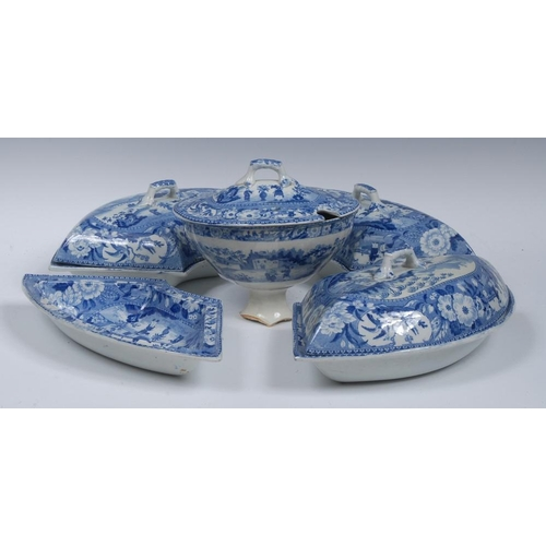 3 - An early 19th century Chinaman and Vase pattern part supper set, comprising four crescent shaped dis...