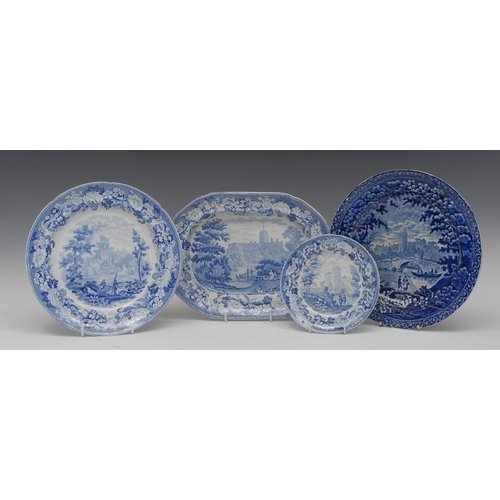 4 - A Boyle Antique Scenery St Albans Abbey Hertfordshire blue and white oval meat plate, 28cm wide, pri...