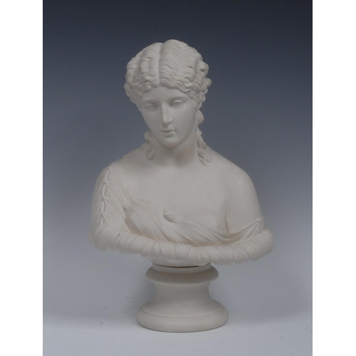40 - A Robinson and Leadbeater Parian bust, of Clytie, scantily draped, turned socle, 33cm high, impresse...