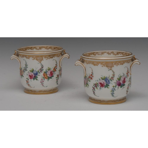 42 - A pair of mid 19th century English Porcelain cache pots, probably Minton, decorated with colourful f...