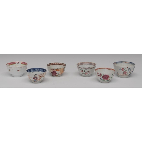 44 - A New Hall tea bowl, in polychrome with holed rock, fence and foliage, c.1800;   others, English and...
