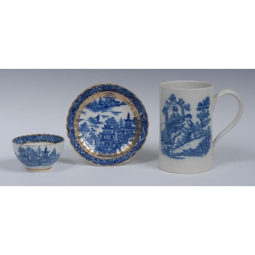 49 - A Caughley cylindrical mug, printed in underglaze blue with La Peche and La Promenade Chinoise, 8.5c...