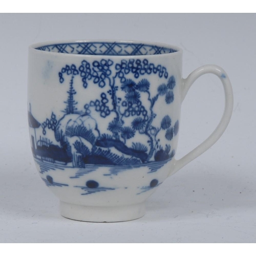 50 - A Caughley Cannon Ball pattern coffee cup,  printed in underglaze blue with pagoda, trees, rock work...