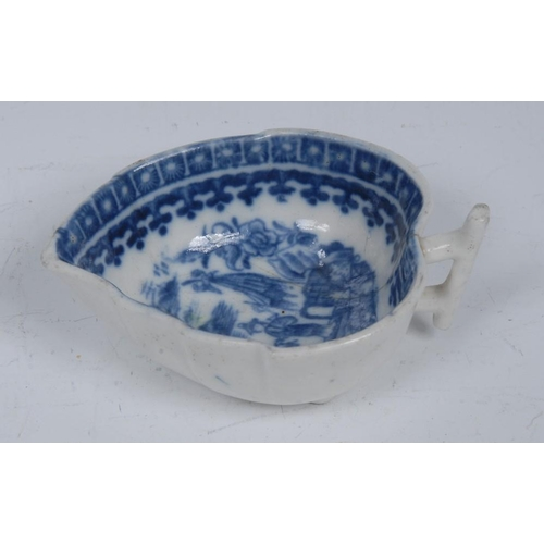53 - A  Caughley Cormorant pattern leaf shaped pickle dish, branch handle, 8cm wide, c.1790...