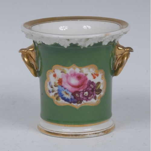 56 - A 19th century Coalport flared cylindrical spill vase, painted with flowers on a green ground, gilt ...