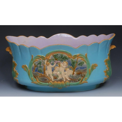 16 - A large Victorian Minton majolica lobed jardiniere, moulded in alternating tones of high and relief ...