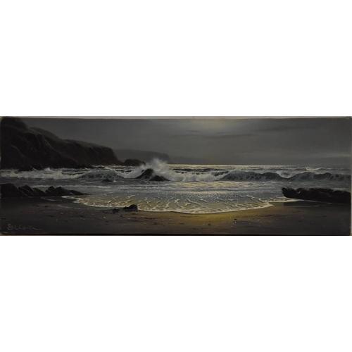 3262 - Peter Cosslett (Contemporary British school) The Cornish Coast signed, oil on canvas, 30.5cm x 91cm ...