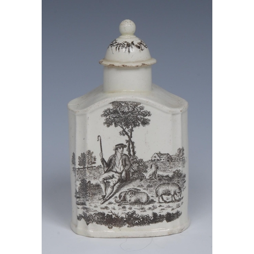 20 - An 18th century Wedgwood creamware domed tea caddy and cover, transfer printed in black with the Tea...
