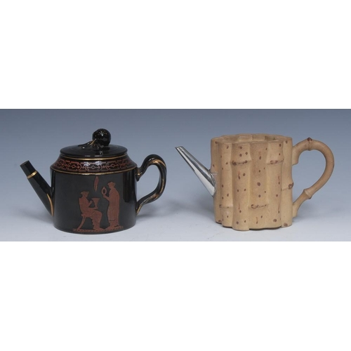23 - An English caneware bamboo teapot, picked out in brown, silver metal spout, 9.5cm high, early 19th c...