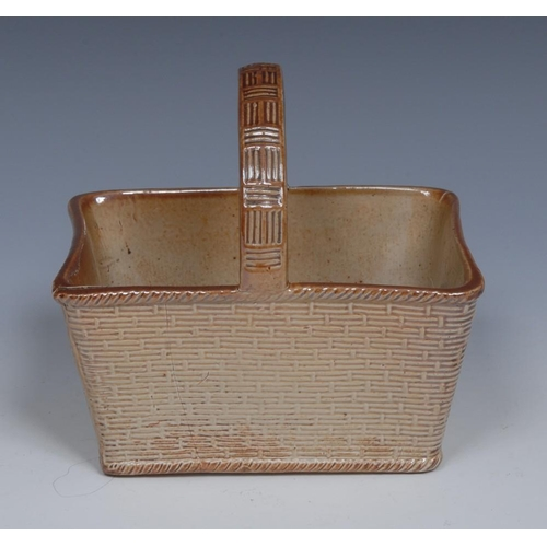 36 - A 19th century S & H. Briddon brown salt glazed stoneware basket, in relief, loop handle, 13cm wide,...