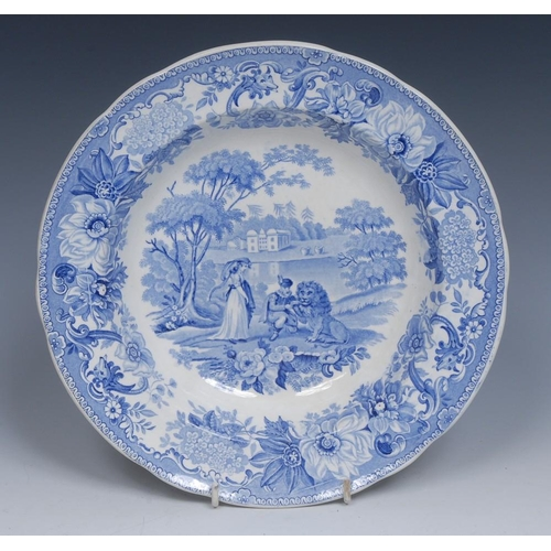 48 - A Spode Aesop's Fables Series The Lion in Love soup plate, transfer printed in tones of blue with li...