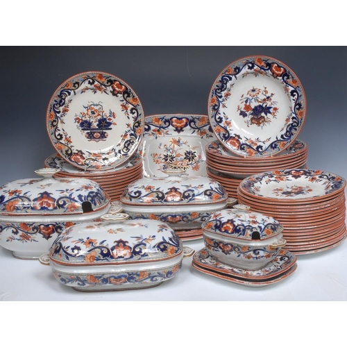 5 - A Minton and Co Scindes pattern part dinner service,  comprising large tureens and cover, two smalle...