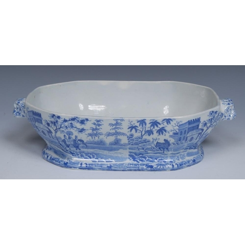 50 - A Spode Caramanian pattern canted rectangular open tureen and cover, transfer printed in tones of bl...