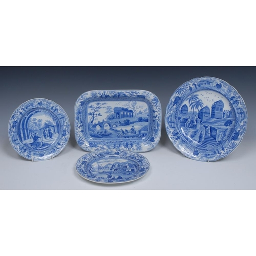 56 - A Spode Caramanian Series rounded rectangular dish, printed in tones of blue with Citadel Near Corin...