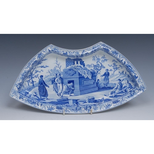 61 - A Spode Colossal Sarcophagus at Cacamo pattern segment dish, printed in tones of blue with figures e...