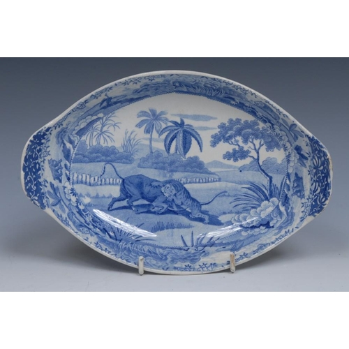 65 - A Spode Indian Sporting Series Battle Between a Buffalo and a Tiger pattern two-handled oval serving...