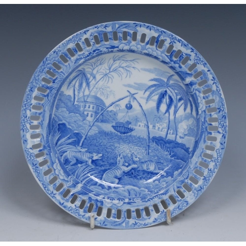 66 - A Spode Indian Sporting Series Common Wolf Trap pattern plate, transfer printed in tones of blue, pi...