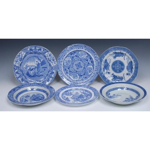 68 - A Spode Lisjen pattern shaped circular plate, printed in underglaze blue with oriental figures under...