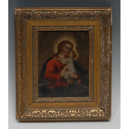 46 - North European School (19th century) Madonna and Child oil on copper, 14.5cm x 11cm
