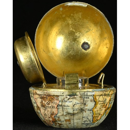5050 - A 19th century novelty cartographic inkwell, as a globe, hinged cover, 4cm high, c.1880...