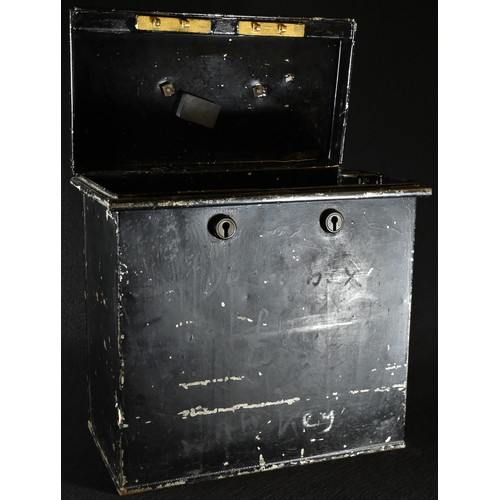 5011 - A 19th century black japanned deed box, brass swan neck carrying handle, 29cm high, 30cm wide...