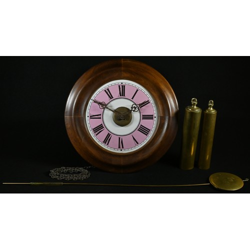 5055 - A 19th century postman's alarm clock, 17.5cm pink and white enamel dial inscribed with Roman numeral...