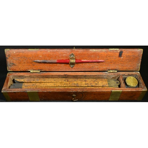 5015 - A 19th century boxwood six-section folding customs and excise or vintner's measure, 152.5cm long, br...
