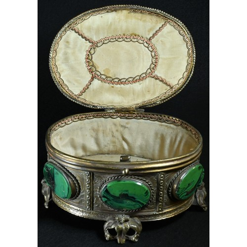5027 - A 19th century French malachite mounted oval casket, in the Palais Royale manner, hinged cover, leaf...