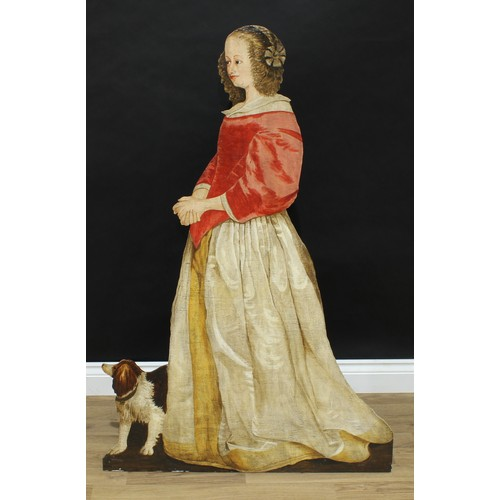 5060 - A 19th century style polychrome dummy board, depicting a young lady and a dog, 123cm high...
