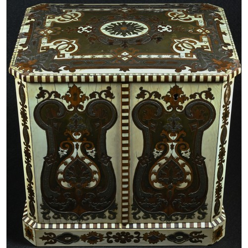 5058 - A 19th century rosewood, boulle and ivory canted rectangular cigar cabinet, profusely inlaid with st...