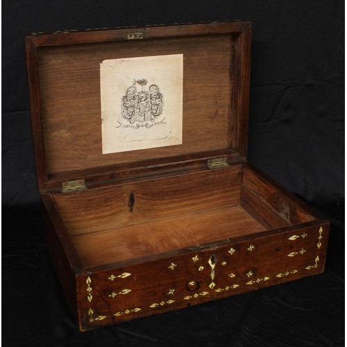 5038 - A 19th century Indian hardwood and ivory marquetry rectangular box, hinged cover centred by a panel ...