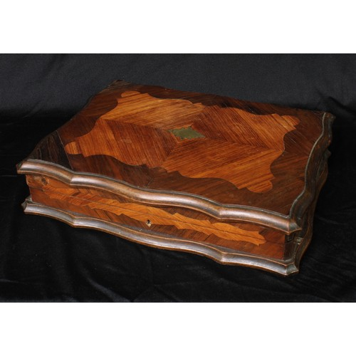 5026 - A 19th century French kingwood and rosewood shaped rectangular gaming box, hinged quarter-veneered t...