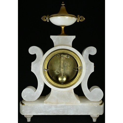 5035 - A 19th century Grecian Revival enamel-mounted alabaster mantel clock, 8cm circular dial inscribed wi...