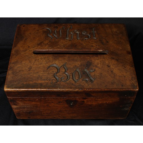 5045 - A 19th century mahogany rectangular box, hinged cover with aperture and carved inscription Whist Box...